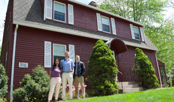 Left to Right: Leticia Colon, Jeff Dyreson, and Alec McCandless in front of Mills House